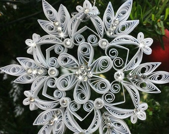 Set of 2x Quilling Christmas Snowflake Ornament