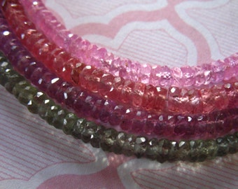 Shop Sale..   Songea Sapphire Rondelles Beads, Luxe AAA, 2.75-3.5+ mm, 10 pcs, Faceted, pick pink yellow purple, september birthstone jj tr
