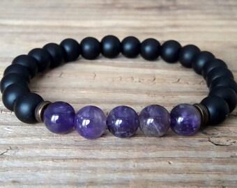 Crown chakra bracelet amethyst bracelet shungite bracelet chakra jewelry healing bracelet black bracelet power bracelet meditation bracelet