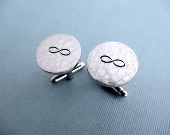Infinity Cuff Links - Hand stamped aluminum Cuff links