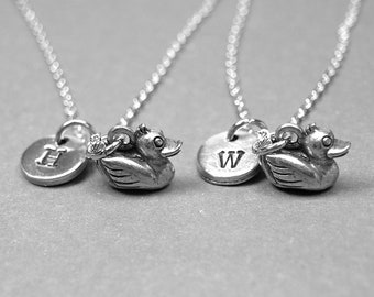Best friend necklace, duck necklace, bff necklace, rubber duck, friendship jewelry, toy duck charm, personalized, initial charm, monogram