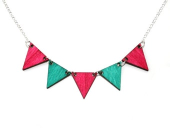 Bunting Necklace, Teal and Pink Wood Triangles, Geometric Triangle Necklace, Wood Jewelry