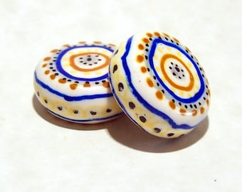 Hand Painted Coin Beads Made From Polymer Clay