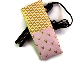 SALE-Free Shipping-Insulated Heat-Resistant Pink and Gold Stag Silhouettes -Travel Flat Iron Case- Curling Iron Case- Hot Iron Case,
