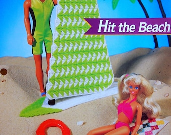 Hit The Beach By Karen McDanel, Deborah Levy Hamburg & Annie's Fashion Doll Plastic Canvas Club Vintage Plastic Canvas Pattern Leaflet 1995