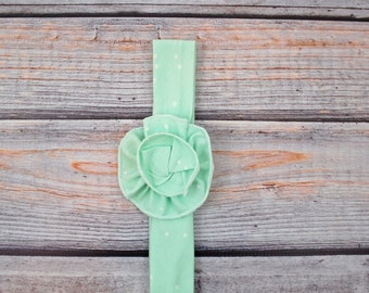 Baby girl headband, mint headband, flower headband, newborn headband, photo prop