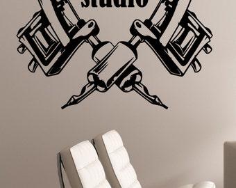 Tattoo Studio Logo Wall Decal Tattoo Machines Vinyl Sticker Window Art Decorations Tattoo Salon Room Decor tast1