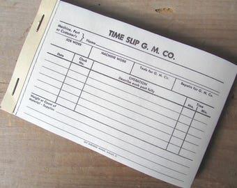 Vintage Time Slips Paper Ephemera Work Order Time Slip G M Co.