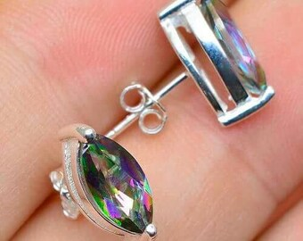 Beautiful Rainbow Topaz Earrings In 100% 925 Sterling Silver