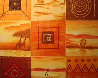 PAINTING acrylic painting Africa 9 boxes