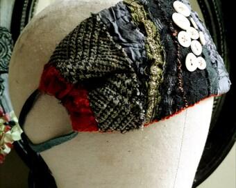 Plaid Patchwork Buttons Headwrap