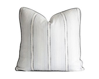 Schumacher Moncorvo in Le Mirage / Decorative Pillow Cover / Off White with Blue and Grey Stripes Pillow Cover