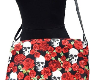 "USA Handmade Computer Bag Case  With  ""SKULLS & ROSES"" Pattern Messenger Bag With Adjustable Handle Purse, Cotton, New"