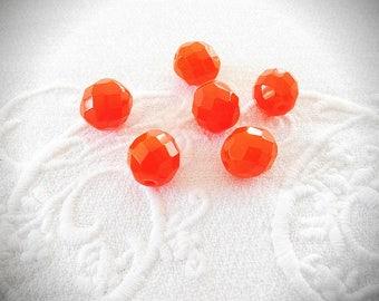 A set of six beads 12 mm faceted Czech glass Orange vermilion.