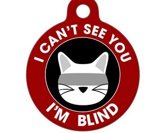 Blind Medical Id Tag - Blind Cat Medical Alert Pet Tag, Dog Tag, Cat Tag, Bag Tag, Child ID Tag