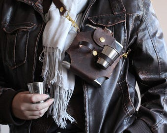 Steampunk Leather Drinking Flask