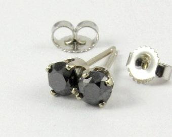 Poliert, Diamant-Ohrringe - Ohrstecker schwarz Runde Diamanten - 14K Weißgold Diamant-Ohrringe - brillanten Ohrstecker, Natur