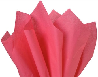 Pink  Tissue Paper, 10 sheets, Solid Pink Rose , Azalea Pink Tissue Paper