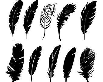 Feathers SVG and Silhouette Studio cutting file, Instant Download