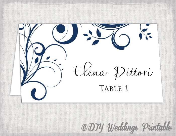 Place Card Template Navy Blue Scroll Name Cards - Place card template free download