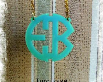 Two Initials Monogram Necklace - Circle Monogram Name Acrylic Monogram Jewelry
