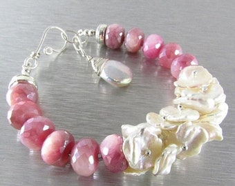 15 Off Pink Moonstone With Keishi  Pearls Sterling Silver Bracelet