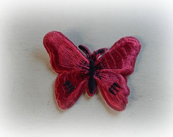 1 patch fusible patch / applique Butterfly in shades of Burgundy and black 5.5 * 7 cm
