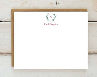 Wreath Initial Personalized Stationery- Monogram - Just Because Stationary - Custom Color
