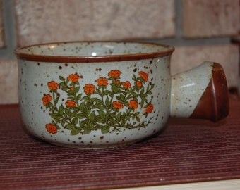 Takahashi Floral Speckled Brown Stoneware Soup Bowl