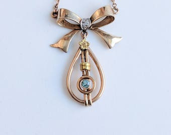 So Retro Sweet 1940s Gold Bow Necklace w/ Blue Zircon