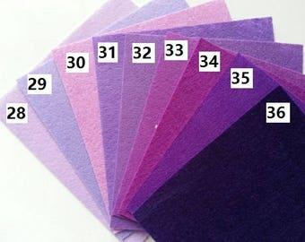 numéro 36 feuille de feutrine unie 15 cm *15cm dans les tons violet