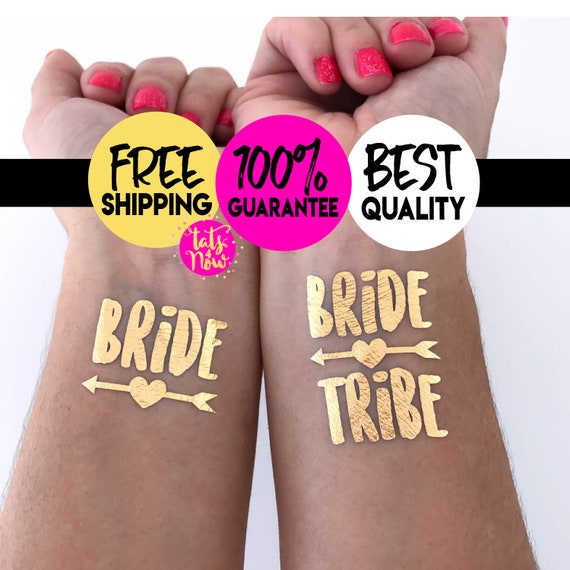 Bachelorette Tattoo // Bride Tribe Tattoo // Bachelorette Favors // Temporary Tattoos // Metallic Tattoos Bachelorette Party Tattoos Gold