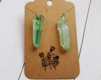 Green colored Quartz Earrings #26
