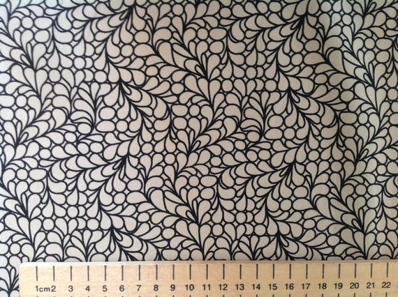 High quality cotton poplin, beige and black abstract print