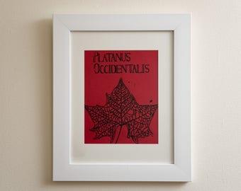 Sycamore Leaf Linocut Print (unframed)