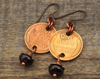 Garnet penny earrings, red beads, US coins, copper dangle French hook
