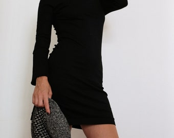 Black Clothing - Black Dress - Black - Pencil Black Clothing - Mini Dress - Bodycon Black Dress - Sweater Dress - Short Dress - Pencil Dress