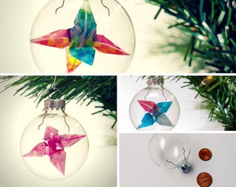 Christmas ornament / Glass ornament / Origami lily ornament / Small custom color flower ornament