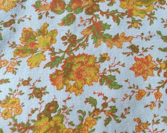 Vintage 1970s Fabric - 70s Hippie Floral Cotton Fabric for Sewing - Orange Yellow Flower Fabric
