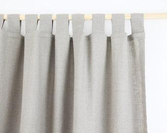 Tab Top Linen Curtain Panel / NATURAL LINEN / homey style / linen drapes