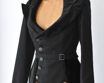 Womens Fitted Velvet Jacket Steampunk Victorian Contempory Coat Black Peplum Work Costume Cotton