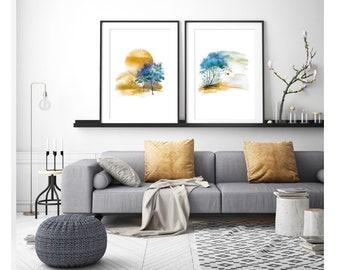Abstract landscape, large wall art, landscape watercolor, large abstract art, watercolor art, modern painting, modern abstract art, wall art