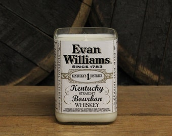 Evan Williams Bourbon Candle, Upcycled Soy Candle - Recycled Bourbon Bottle Candle Handmade Soy Candle 1L Recycled Glass Bottle 22oz Soy Wax