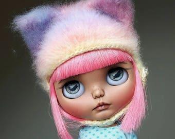 Pastel rainbow furry Blythe kitten hat