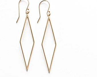 """Modern gold earrings handmade out of solid 14K yellow gold in a unique and eyecatching long minimalist diamond shape - """"Geometric Earrings"""""""
