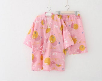 Lost in Kyoto collection blue/pink moon rabbit super cute Japanese floral top shorts set kimono pajama