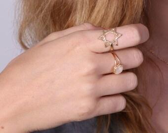 Gold ring, star of David ring, Magen David ring, Jewish jewelry, jewish star - 20080