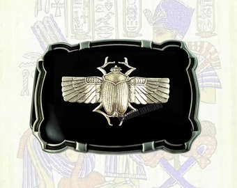 Large Belt Buckle Gothic Victorian Antique Silver Egyptian Beetle Ornate Buckle in Black Enamel Custom Colors Available