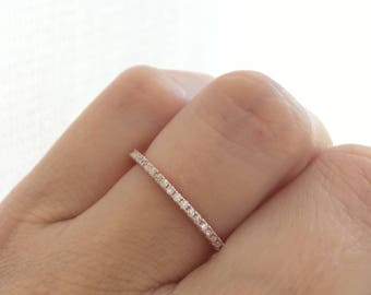Rose Gold Eternity Ring. Full Eternity Ring. Stacking Ring. Rose Gold Stackable Band Packed In A Luxury Gift Box. 4-12 Sizes.
