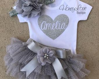 Personalized name heart glitter shirt, flower headband bow gray silver sparkle ruffle bloomers tutu skirt, newborn infant toddler baby girl